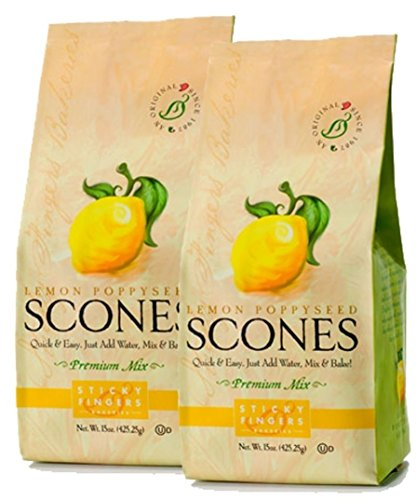 Sticky Fingers Scone Mix (Pack of 2) 15 Ounce Bags - All Natural Scone Baking Mix (Lemon Poppyseed)