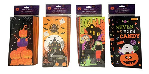 geenbrier Halloween Party Pack Bundle Paper Treat Bags 4 Designs (48 pcs)