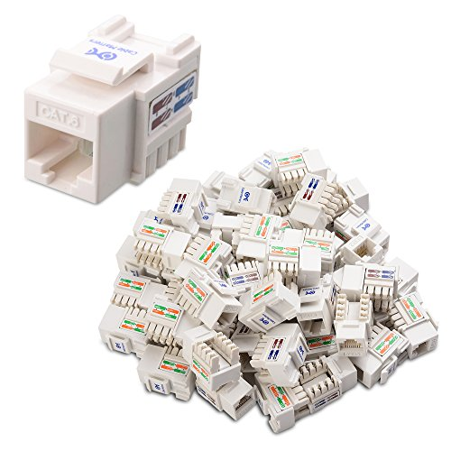 [UL Listed] Cable Matters 50-Pack Cat6 RJ45 Keystone Jack (Cat 6/Cat6 Keystone Jack) in White with Keystone Punch-Down Stand