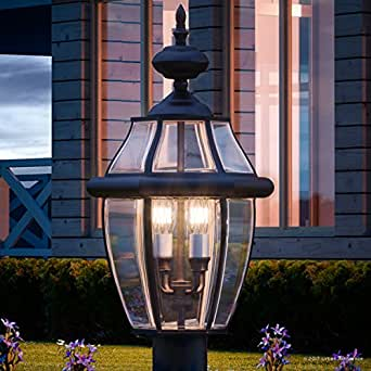 """Luxury Colonial Outdoor Post Light, Large Size: 23""""H x 12.5""""W, with Tudor Style Elements, Versatile Design, High-End Black Silk Finish and Beveled Glass, UQL1150 by Urban Ambiance"""