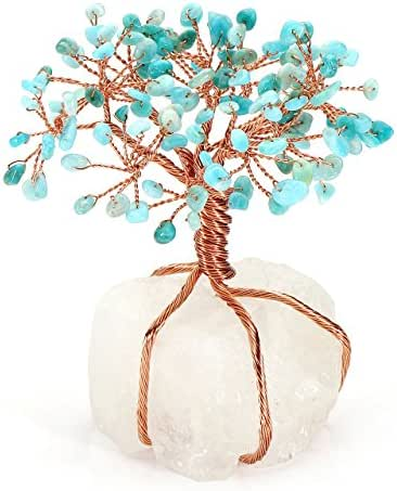 CrystalTears Amazonite Crystal Money Tree Feng Shui Ornament Copper Wrapped on Quartz Cluster Base Figurine Decoration for Wealth and Luck