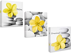 Yellow Gray Bathroom Wall Art Canvas Print Decor, Relax Soak Unwind Modern Bath Decor