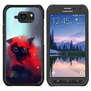 Caucho caso de Shell duro de la cubierta de accesorios de protección BY RAYDREAMMM - Samsung Galaxy S6Active Active G890A - LINDO CAT A CABALLO ROJO