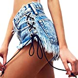 Ermonn Womens Sexy Style Lace Up Washed Ripped Stretch Hot Jeans Denim Shorts