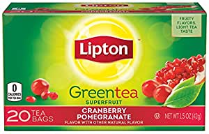 Lipton Green Tea Superfruit, Cranberry Pomegranate 1.5 ounce, 20 count (Pack of 6)