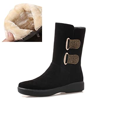 18102b737 Amazon.com | AVENBER Women Mid Calf Boots Fashion Winter Round Toe Keep  Warm Snow Zip Flat with Suede Metal Decoration Rubber Shoes | Mid-Calf