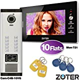 ZOTER Wired 7 Inch LCD Monitor 600TVL Camera Video Door Bell Phone Intercom Access Control Home House Gate Entry Security Kit RFID Card System for 10 Families Apartments