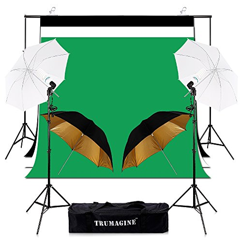 Photography Photo Video Studio Umbrellas Background 6.5x10FT Stand Support Kit 35Wx2 Lights Continuous Adjustable Support System with 5x10FT White Black Green Contton Backdrop in Carry Bag by TRUMAGINE