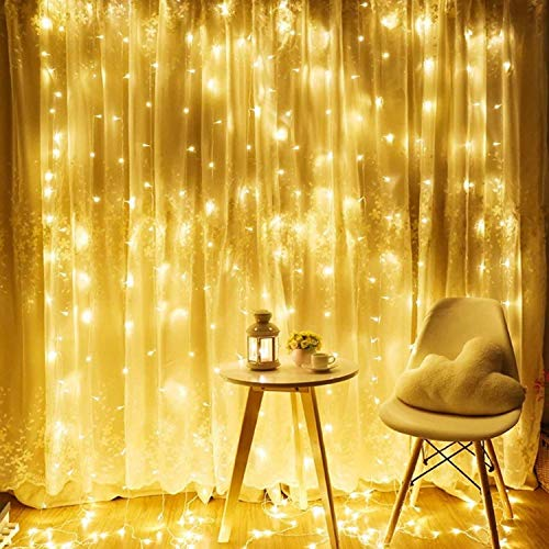 TORCHSTAR 320 LEDs 9.8FT × 9.8FT Window Curtain Light, Extendable String Light Kit, 3000K Warm White, 8 Modes Fairy Lights for Party, Wedding, Restaurant, Festival, Hotel,