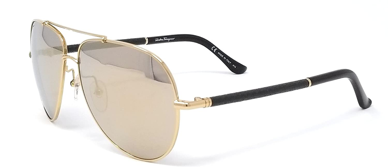 d8d7da62a0ee1 Salvatore Ferragamo SF144SL 717 Shiny Gold Gold Mirror  Amazon.co.uk   Clothing