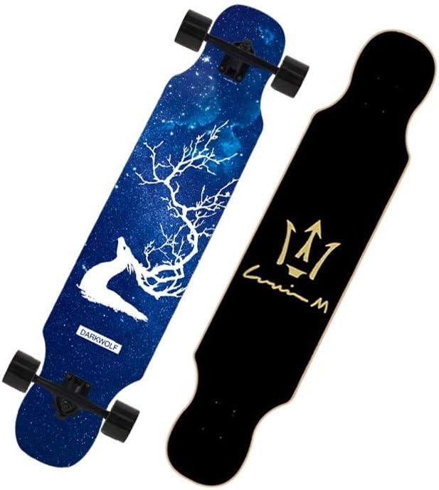 LIUFS-スケートボード 完全なスケートボードブラシストリートロングボード男の子と女の子青年スクーターギフトメープルウッドダブルロッカーヘッド 黒