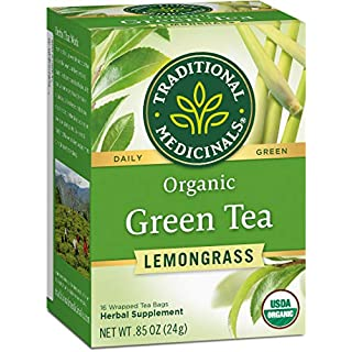 Traditional Medicinals Organic Green Tea Lemongrass Tea (Pack of 6), Mildly Invigorating, 96 Tea Bags Total