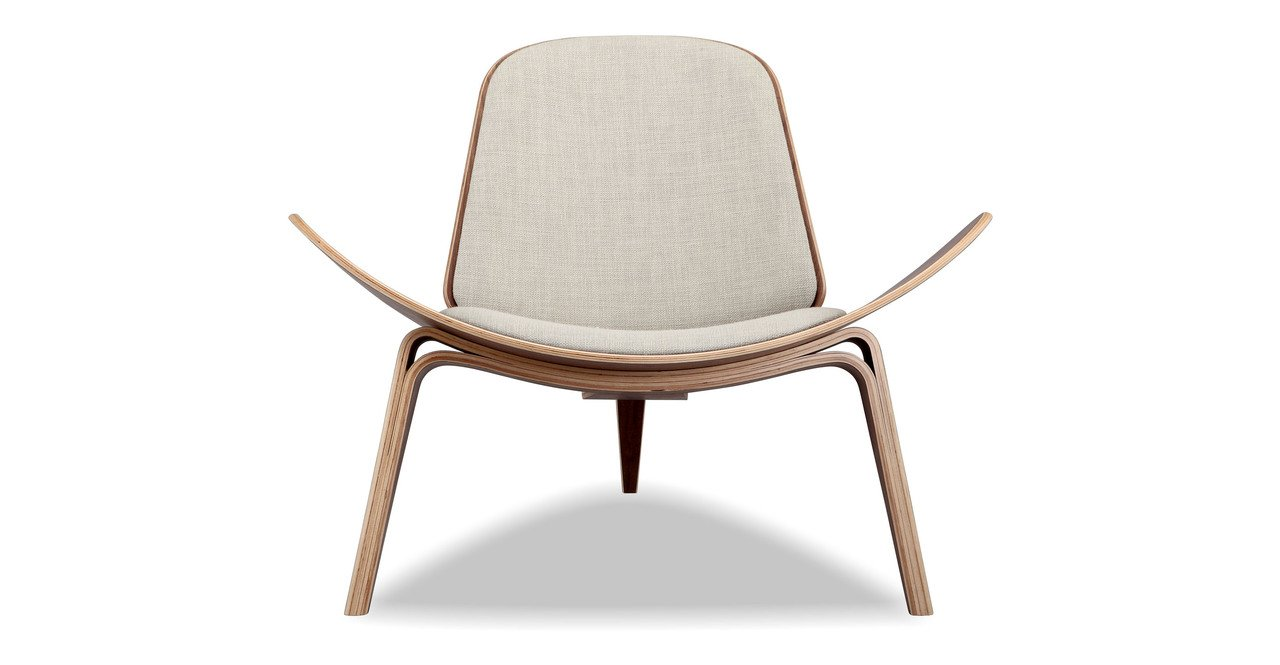 Kardiel Tripod Plywood Modern Lounge Chair, Urban Hemp Twill Walnut