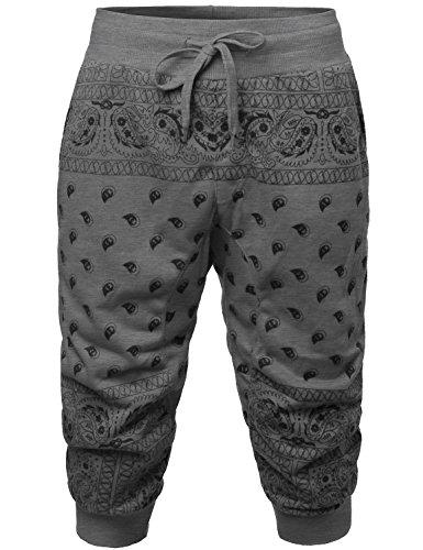 YOUSTAR New Stylish Casual Bandana Printed Jogger Harem Short Pants Gray Size (Bandana Print Clothing)