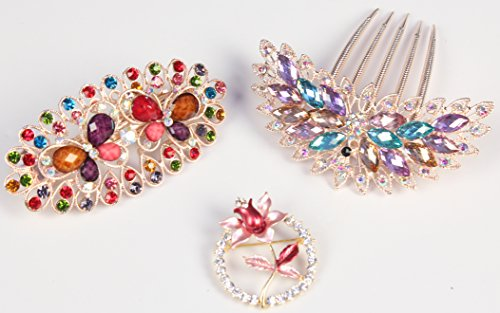 Price comparison product image LUXEHOME Styling Tools Cute Lovely Rhinestones Hair Clip Hairpin,Hair Comb,Brooch, Decorative Set of 3 pcs, Variety of Style (Peacock & Butterfly & Flower)