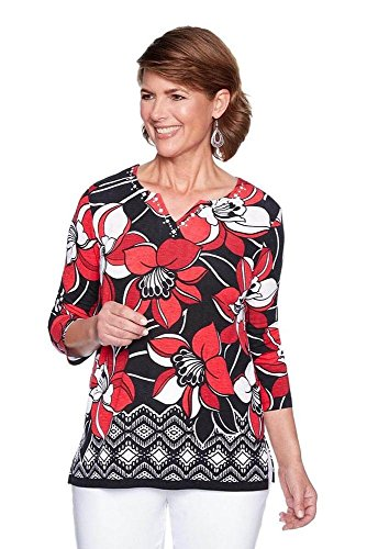 Alfred Dunner Women's Petite Border Floral top, Multi, PM ()