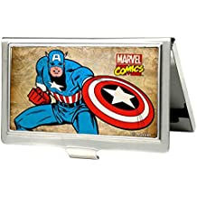 Buckle-Down BCH-SM-CAF Business Card Holder - SMALL - Captain America Pose w/Marvel Comics Logo FCG