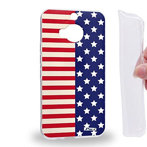 Pin-1 [HTC ONE M9+ (PLUS)] Gel TPU Phone case - Art Half Stars And Stripes Banners Americana Design