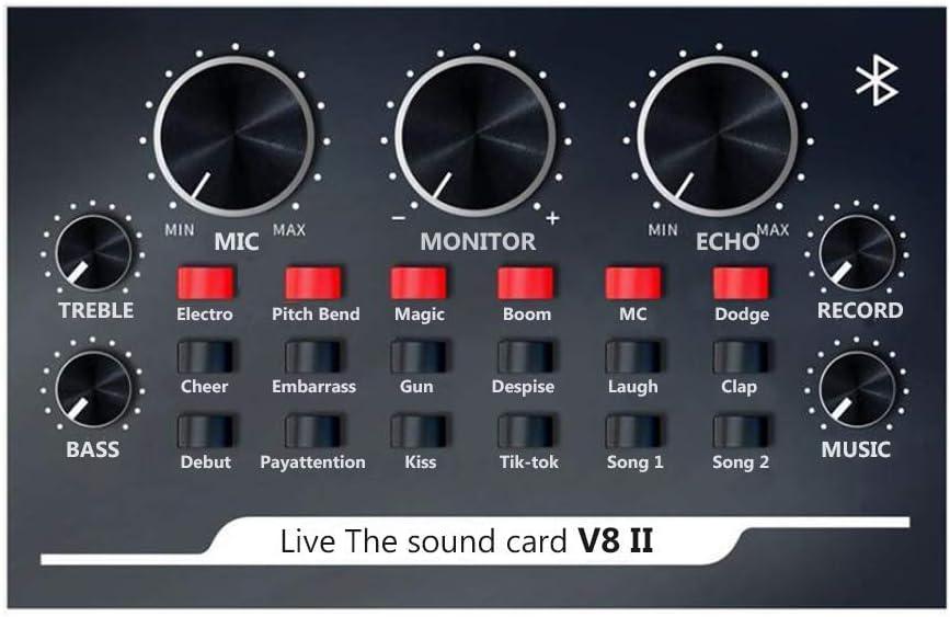 Live Sound Card,Mixer Recording Sound Card witn Multiple Funny Sound Effect,USB Audio Interface Intelligent Volume Audio Mixer,for Recording Hosting Speech Karaoke YouTube Live