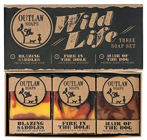 Wild Life Soap Gift Set - 3 Western-style handmade soap in a rustic gift box - The ideal gift for the Wild West lover in your life (who also enjoys being clean)