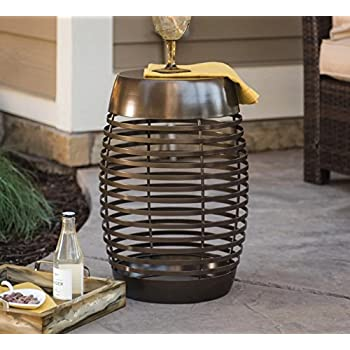 Contemporary Bronze Brown Finish Metal Cage Style Garden Stool Side Table  Outdoor Patio End Table