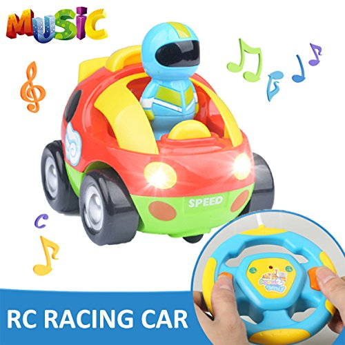 RC Cartoon Race Car AMENON Electric Toy Remote Control & Play Vehicles with Music and Lights for Baby Toddlers Kids and Children
