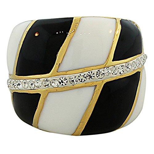TECNO STEEL Stainless Steel Yellow Gold-Tone White Black Enamel Clear CZ Statement Ring (Enamel Tone White Ring Gold)