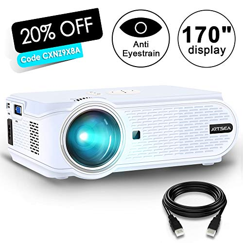 Movie Projector ARTSEA +80% LED Source Luminous for Home Theater LED Video Projector Support 1080P Full HD, HDMI, VGA, USB, AV and Headphone Interface for Multimedia Home Theater Entertainment by ARTSEA
