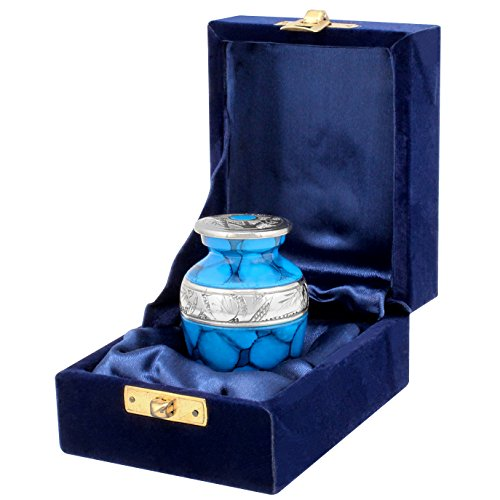 Forever Remembered Blue Small Mini Cremation Keepsake Urn for Human Ashes - Qnty 1 - Beautiful and Timeless Find Comfort Everytime You Look at This High Quality Urn - with Velvet Case by Trupoint Memorials