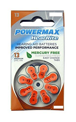 Powermax HearRite 13 Size Hearing Aid Batteries, Orange Tab, Zinc Air Mercury-Free, 64 Count