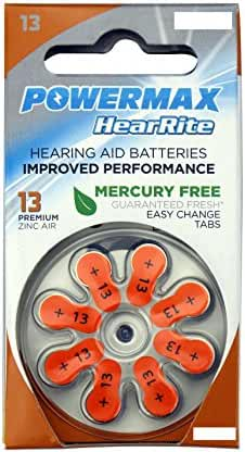 Powermax HearRite Zinc Air Mercury-Free Hearing Aid Batteries, Size 13, pack of 64