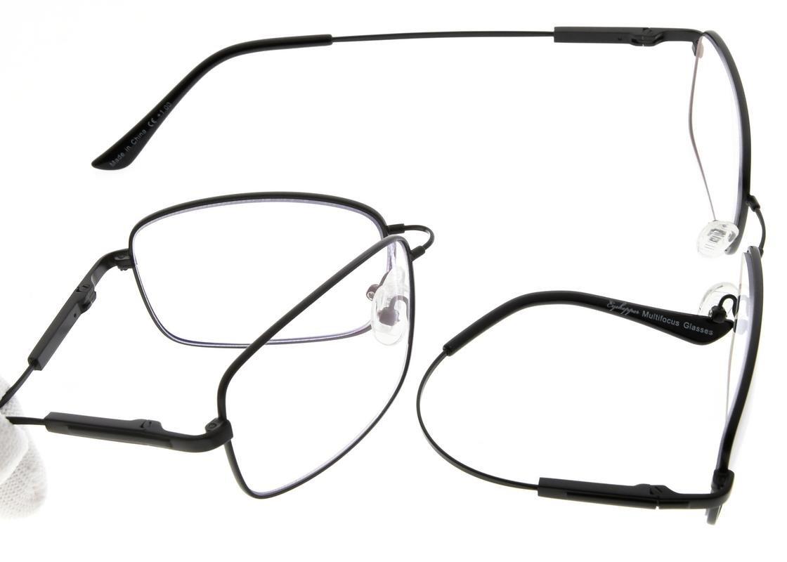 6428b8b4c3 Eyekepper Lectores progresivos 3 niveles visión lentes multifocales anti UV  gafas de lectura de los hombres flexible marco de memoria (Negro, ...