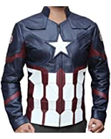 fjackets Men's Chris Red Galaxy and Capt Civil Leather Jacket