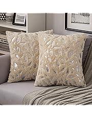 MIULEE Set van 2 zilveren veren kussenslopen, bankkussens, pluizig decoratief kussen, decoratieve kussenslopen, vierkant kussen voor bank woonkamer slaapkamer