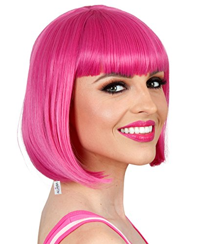 ALLAURA Pink Bob Wig with Bangs – Hot Pink Wigs for Women – Cosplay, Anime, (Child Costumes Australia)