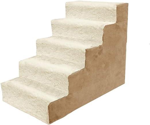 ZSPSHOP Escaleras Medianas para Perros Escalera Grande para Mascotas Escalera para Mascotas para Camas Altas Y Sofás Alfombra Extraíble Y Lavable (Tamaño: 5 Peldaños): Amazon.es: Hogar