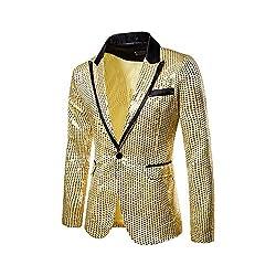 Men's One Button Sequin Jacket
