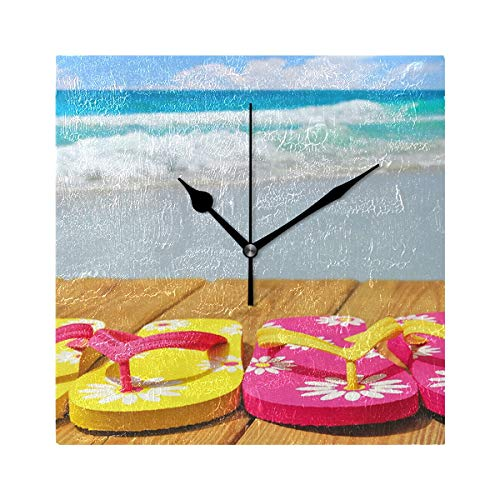 Ladninag Wall Clock Flip-Flops Beyond The Beach Silent Non Ticking Decorative Square Digital Clocks Indoor Outdoor Kitchen Bedroom Living Room