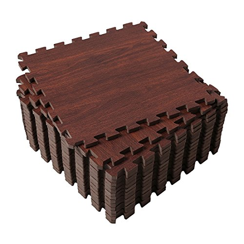 Superjare 16 Pieces Eva Foam Interlocking Tiles Protective Flooring Mat with Boarders Dark Wood Grain