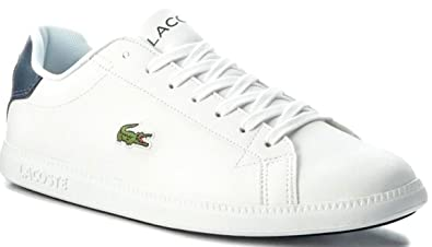 beb74cd1297 Lacoste Graduate 118 White Navy Leather Mens Trainers  Amazon.co.uk ...