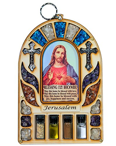 Home Blessing Wall Hanging Sacred Heart of Jesus Catholic Gift with Holy Water & Soil from the Holy Land