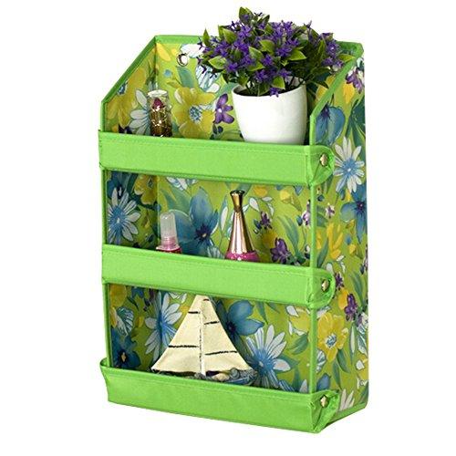 [dolly2u Fashion Wall Shelf Cosmetic folding Display Organizer Buggy Bags Green Flower] (Deluxe Adult Elizabeth Costumes)