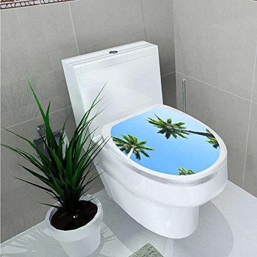 Jiahonghome Decal Wall Art Decor Palm Trees Bathroom Creative Toilet Cover Stickers W13 x L18 ()