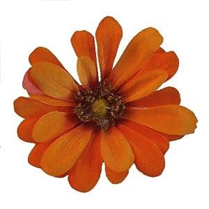 Small Zinnia Artificial Flower Hair Clip/Pin Brooch, Orange Mustard 11
