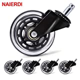 Fevas 5PCS Office Chair Caster Wheels 3 Inch Swivel Rubber Caster Wheels Replacement Soft Safe Rollers Furniture Hardware - (Ships from: Spain)