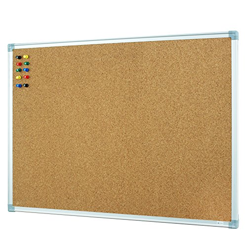 Lockways Cork Bulletin Board - Notice board 24 X 18- Ultra-Slim Silver Aluminium Frame U12118760809 For Home, School & Office (SET Including 10 Push Pins) (24 x 18