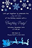30 Invitations Christmas Party Navy Blue Watercolor Glitter Personalized Cards Kids Adults Photo Paper