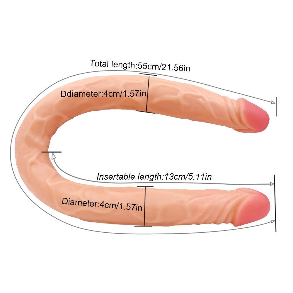 Gawe Ndaq Consolador Consolador Consolador Doble Cabeza de Silicona Pura de Dos Capas Suave Exterior y Firme Interior del pene con Ventosa Fuerte Real Dong Penis Replica, 55 cm, Flesh d7554c