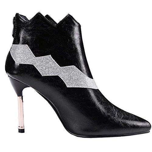 AIYOUMEI Damen Spitz Zehen Stiletto High Heels Stiefeletten mit 9cm Absatz Klassischer Stiefel Winter Kleid Schuhe Schwarz