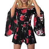 Women Jumpsuit Boho Floral Print Off Shoulder Flare Sleeve Playsuit Short Romper